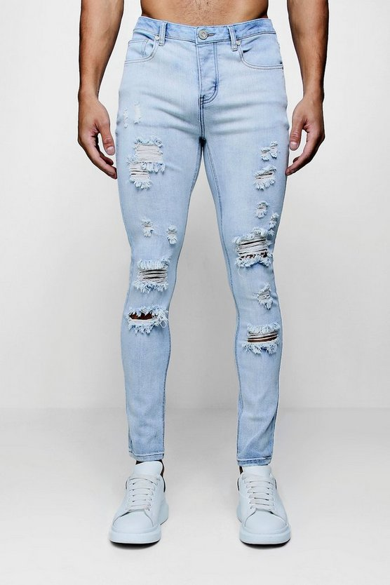 Super Skinny Distressed Wash Jeans