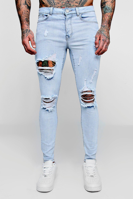 skinny claro Jeans desgastados azul super nq8gx7CH