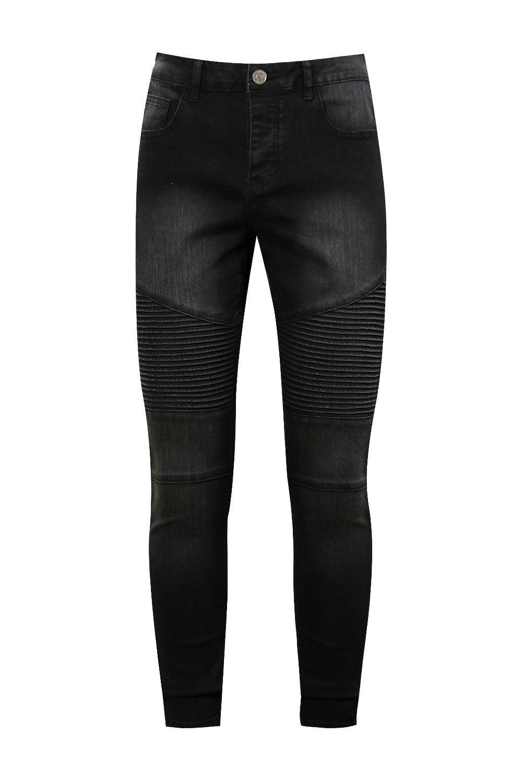 negro biker desteñido Jeans skinny Jeans biker WEagnqIW