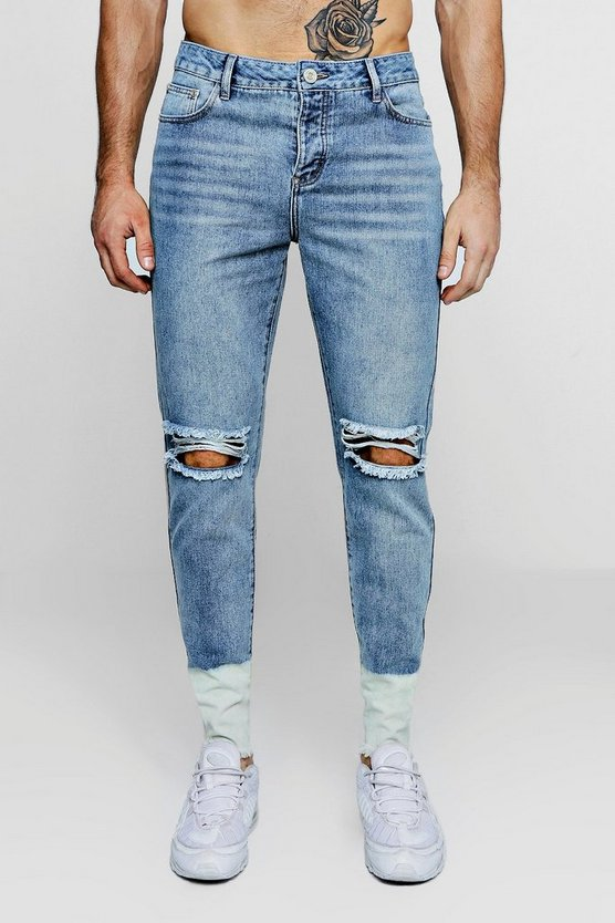 Mens Vintage wash Skinny Fit Ripped Jeans With Bleach Raw Hem