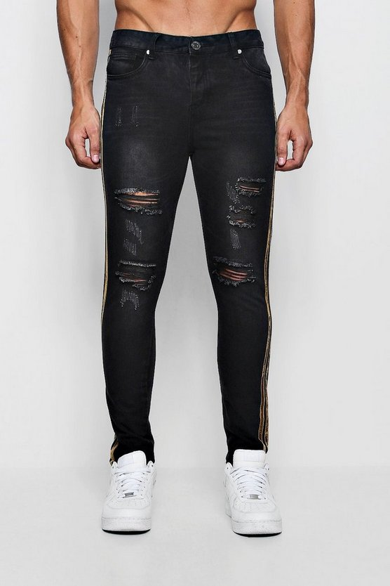 Mens Washed black Skinny Fit Distressed Jeans With Tape