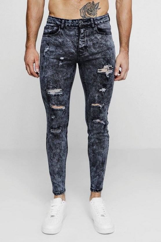 Super Skinny Acid Wash Ripped Jeans