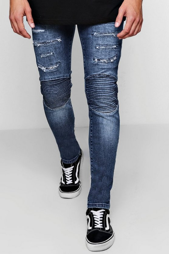 Skinny Fit Biker Jeans With Distressing