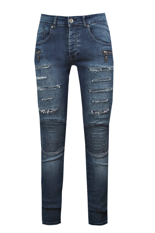 biker oscuro skinny azul desgastados super Jeans HqndSH