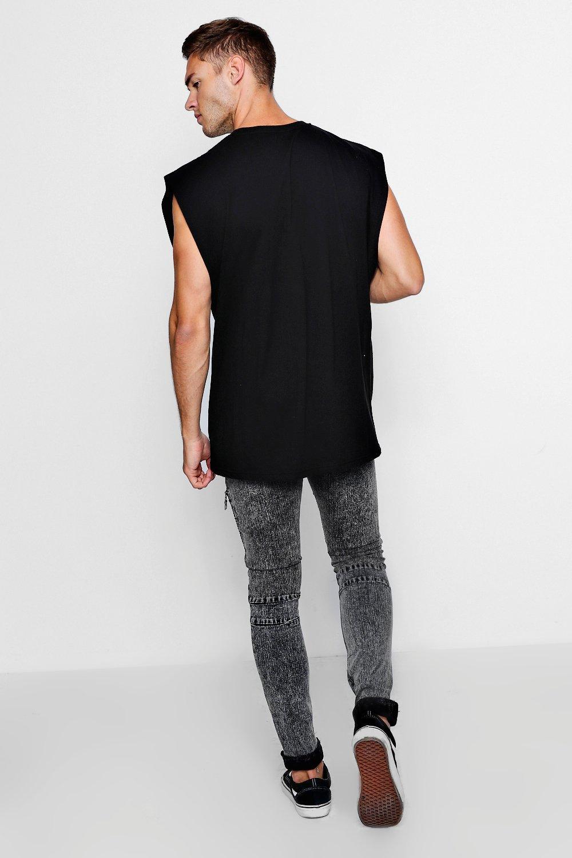 de detalle con skinny Jeans cremallera gris super biker marengo qwxaP
