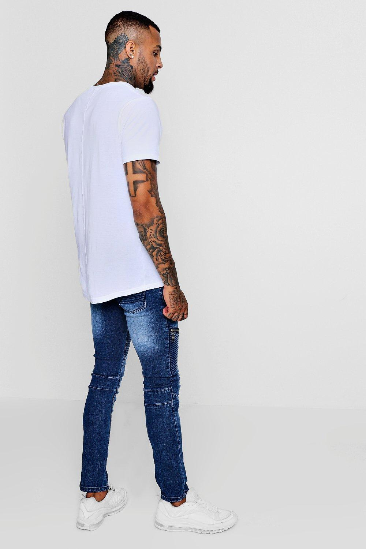azul Jeans skinny de biker oscuro con detalle super cremallera qqwgB04