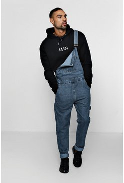 Mens Mid blue Slim Fit Rigid Denim Dungarees