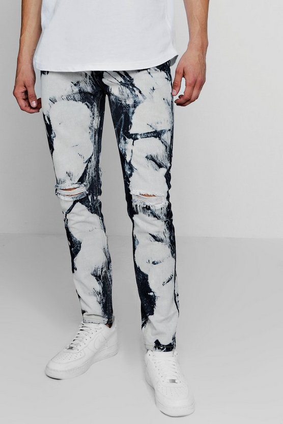 Skinny Fit Jeans With Heavy Bleaching