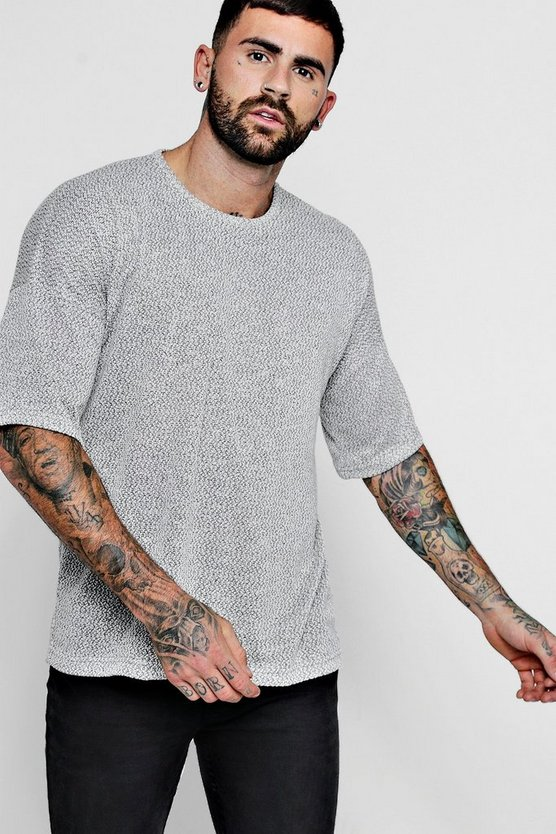 Marl Knitted Drop Shoulder Tee