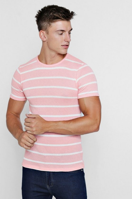 Muscle Fit Knitted Stripe Tee