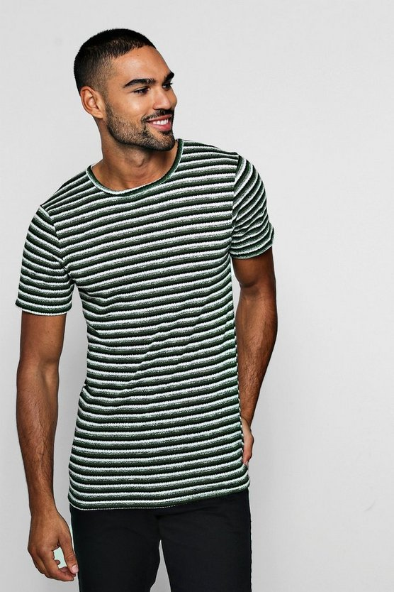 Muscle Fit Short Sleeve Knitted Stripe Tee