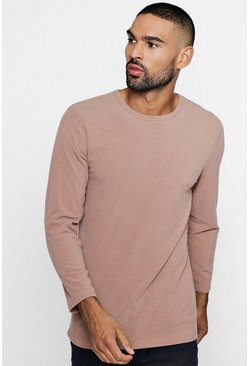 Mens Mocha Muscle Fit Knitted Rib Long Sleeve Tee