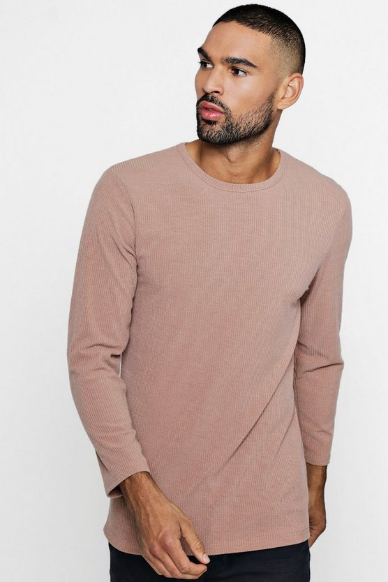 Muscle Fit Knitted Rib Long Sleeve Tee