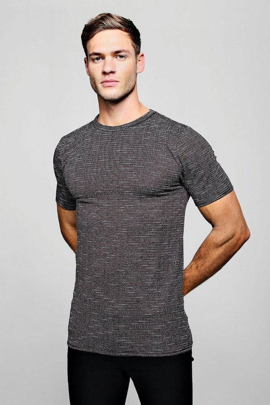 Knitted Stripe Muscle Fit Tee