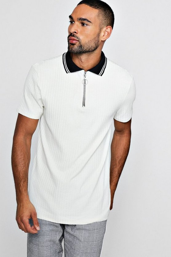 Knitted Rib Polo With Zip