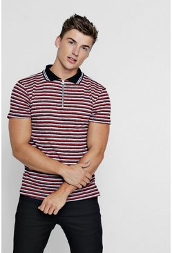 Mens Red Knitted Stripe Polo With Zip