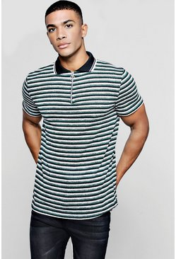 Mens Bottle green Knitted Stripe Polo With Zip