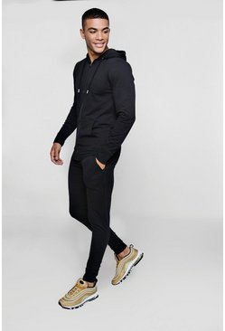 Mens Black Zip Through Muscle Fit MAN Tracksuit