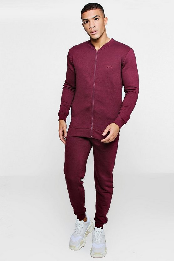 Mens Wine MAN Embroidered Fleece Bomber Tracksuit