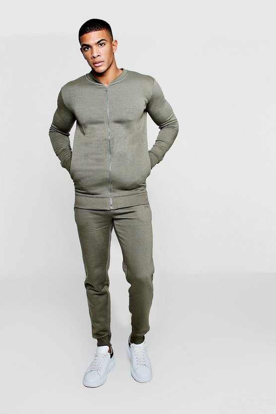 MAN Embroidered Fleece Bomber Tracksuit
