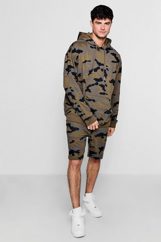 Camo Oversized Hoodie And Short Set