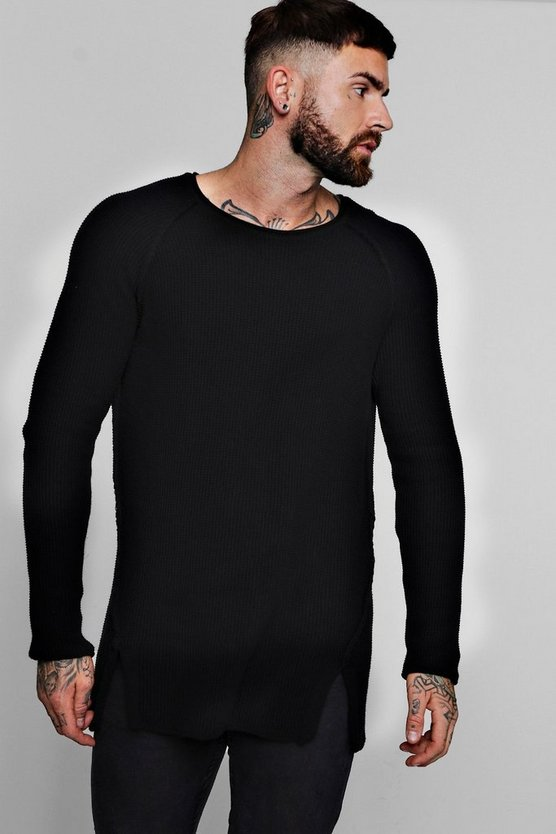 Textured Knitted Raglan Jumper