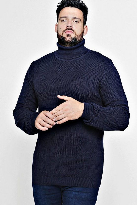 Big And Tall Smart Textured Roll Neck Jumper
