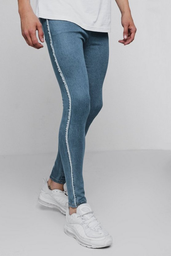 Spray On Skinny Jeans With Frayed Side Seam