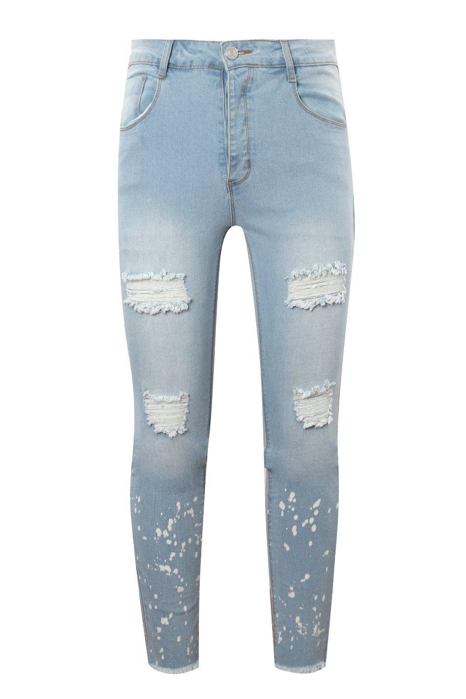 con super azul manchas desgastados pálido skinny Jeans t1dxpSS