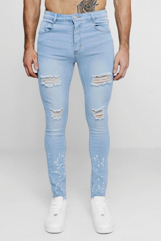 Super Skinny Distressed Jeans With Splatter