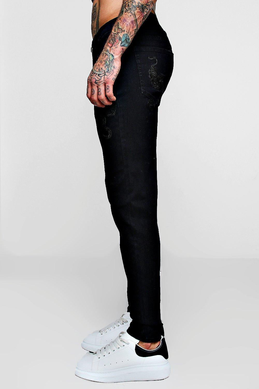 con skinny floral super Jeans desteñido bordado negro AH1O77wq