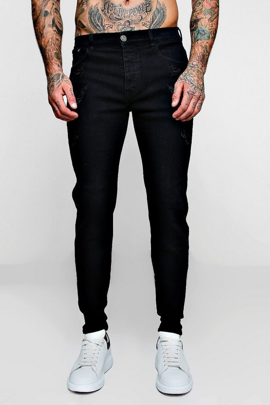 Skinny Fit Jeans With All Over Embroidery