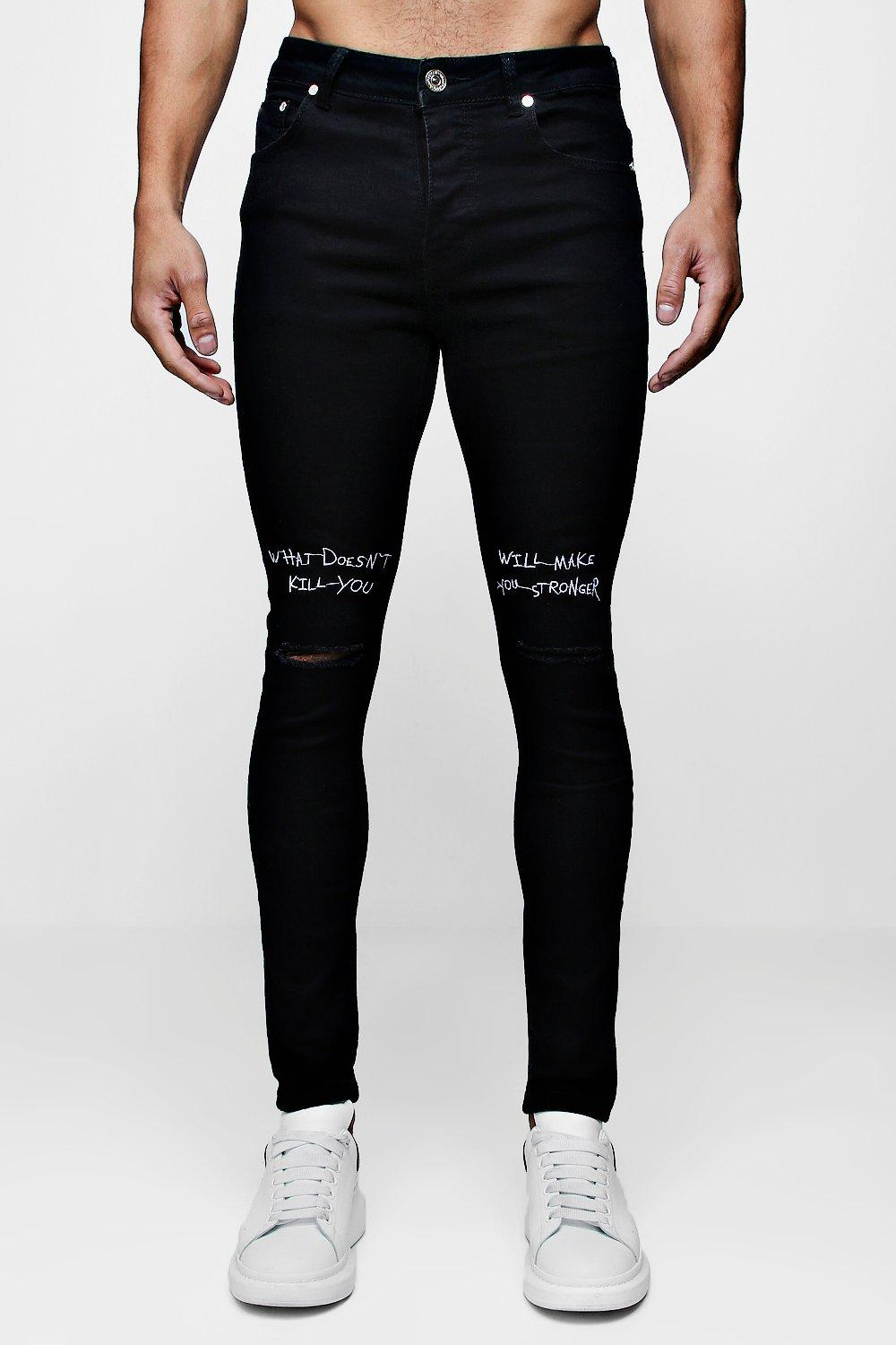 Super Skinny Jeans With Embroidered Knee