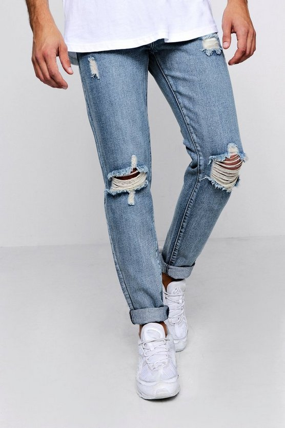 Skinny Distressed Jeans With Embroidery