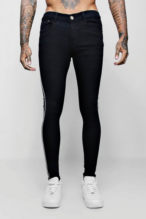 Mens Black Spray On Skinny Jeans With Piped Side Seam
