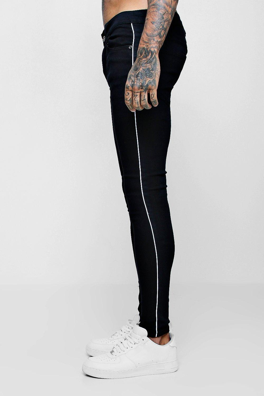 Jeans con negro pespuntes con costuras skinny laterales wUrRq6Tw