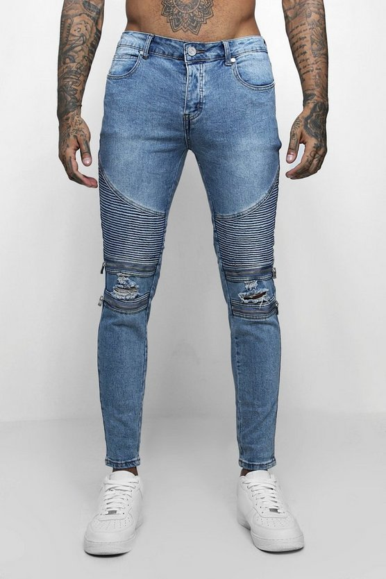 Skinny Fit Biker Jeans With Zip Detail
