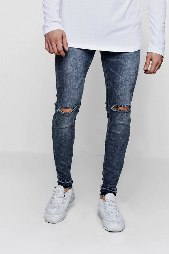 Skinny Fit Ripped Knee Jeans and Let Down Hem