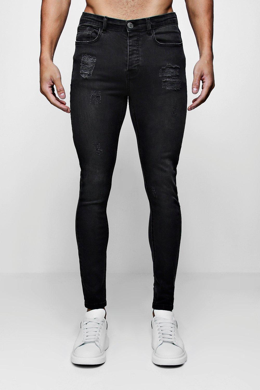 desteñido skinny negro biker desgastado super con Jeans ligero 1aR0qn