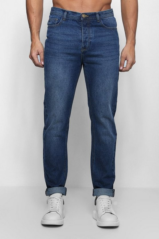 Slim Fit Rigid Denim Jeans In Dark Blue