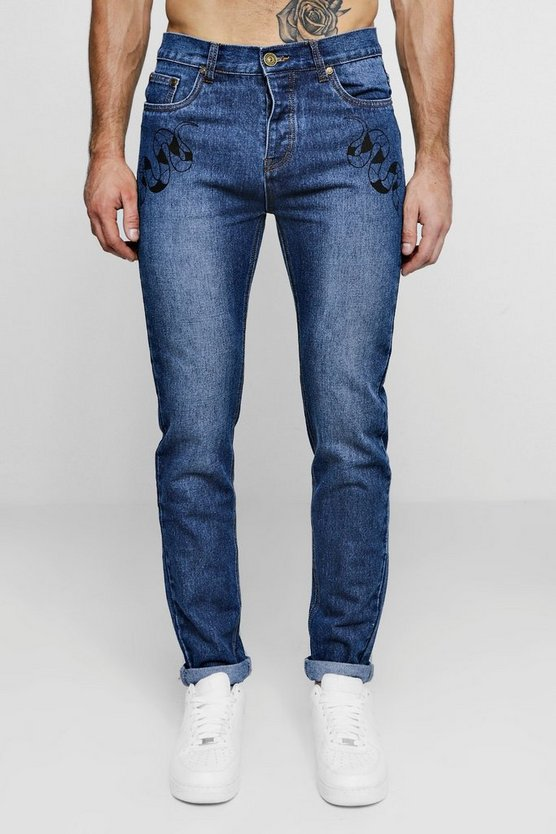 Skinny Fit Rigid Jeans With front Pocket Print