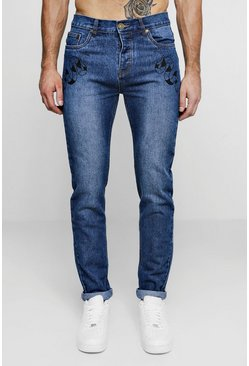 Mens Dark blue Skinny Fit Rigid Jeans With front Pocket Print