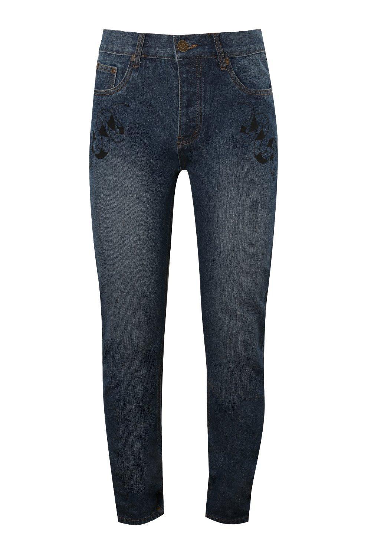 con azul estampado rígidos Jeans oscuro bolsillo skinny delantero qwzBpEnTR
