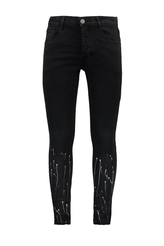 pintura con desteñido Jeans manchas skinny en de super negro bajo WOWCqxwp