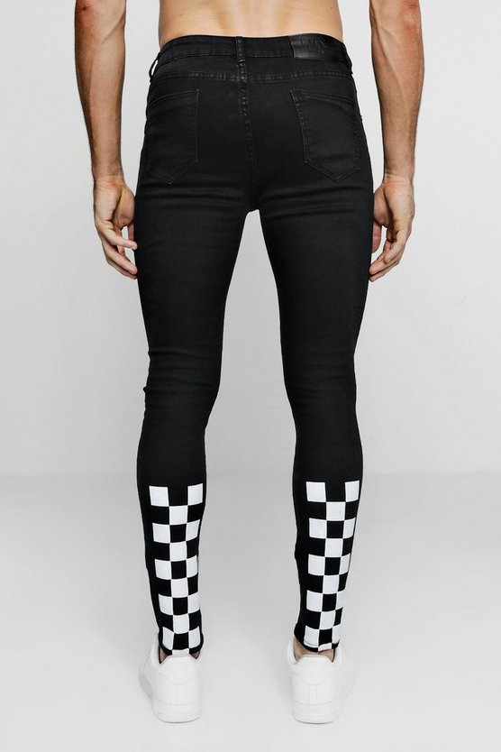 Super Skinny Jeans With Checkerboard Print by Boohoo Man