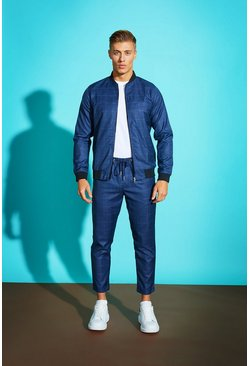Mens Blue Windowpane Check Smart Jogger