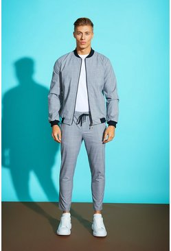 Mens Grey Window Pane Check Smart Jogger