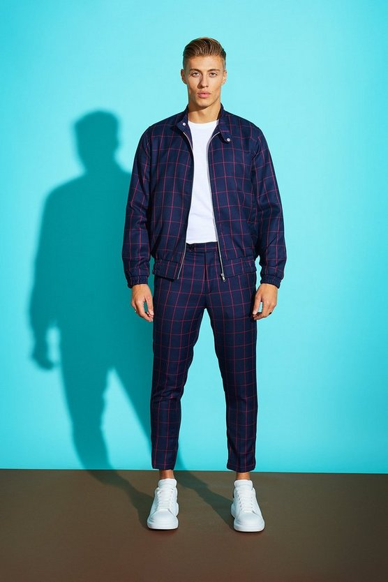 Window Pane Check Skinny Cropped Trouser