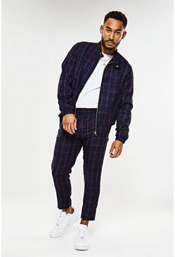 Mens Navy Windowpane Check Harrington Jacket Co-ord