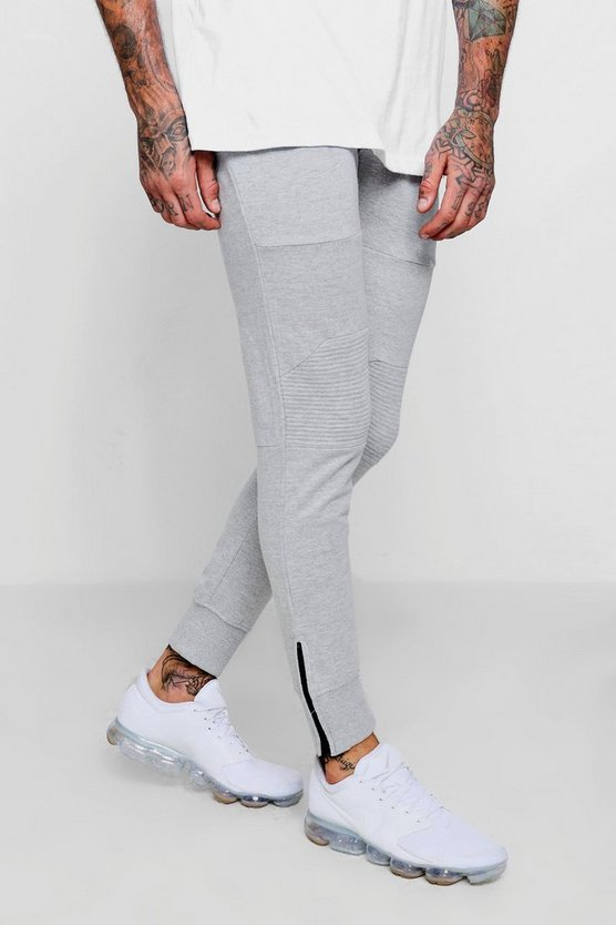 Skinny Fit Biker Panel Joggers With Zip Cuffs